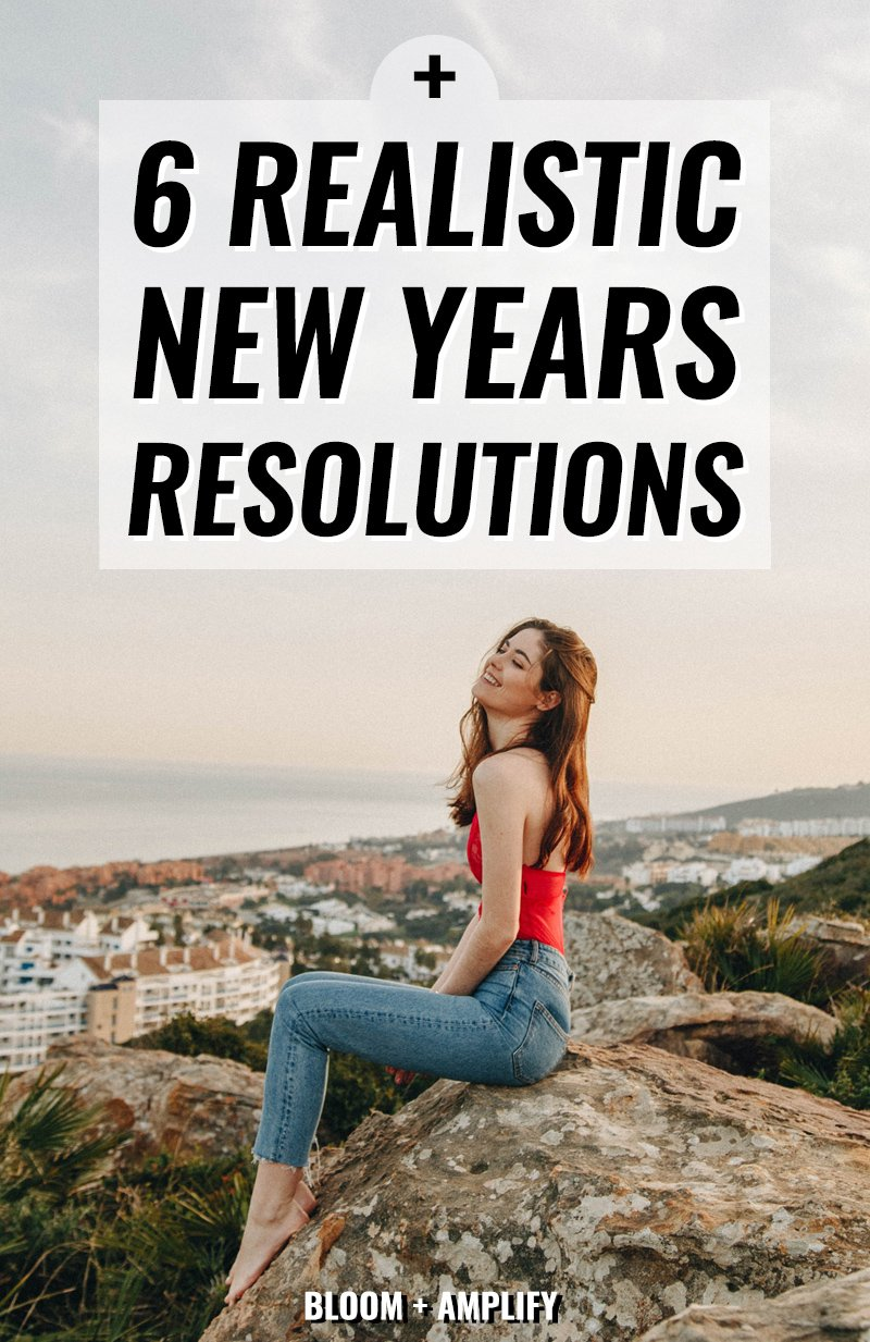 Happy Girl Sitting On Rock Thinking About New Years Resolution Ideas