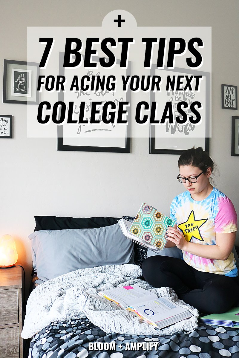 College Girl Sitting On Bed Studying